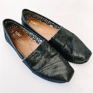 Toms Flats Black Sequins Sparkle Bling 6.5